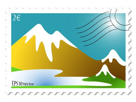 mountain landscape stamp against white background, abstract art illustration