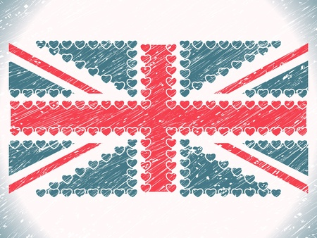 union jack hearts grunge flag, abstract  art illustration