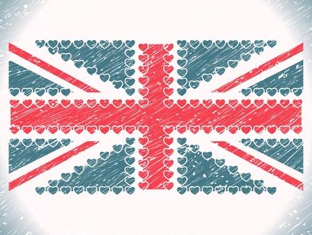 union jack hearts grunge flag, abstract  art illustration