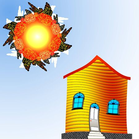 twisted house and sun, abstract vector art illustration; image contains transparency Vector