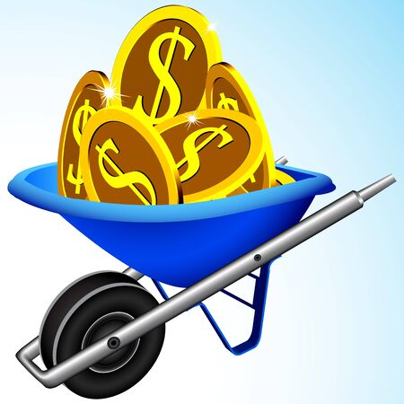 wheelbarrow and money, abstract art illustration, image contains gradient mesh
