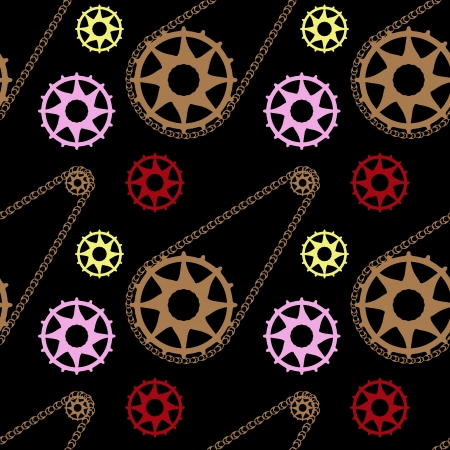 bike mechanic pattern, abstract seamless texture; vector art illustration Vector