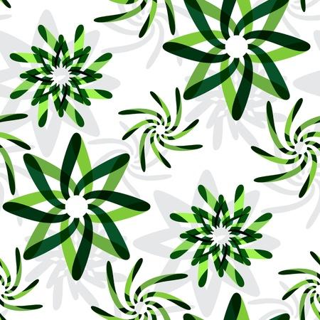 緑のグラフィック花パターン、抽象的なシームレスなテクスチャ;ベクトル アート イラスト