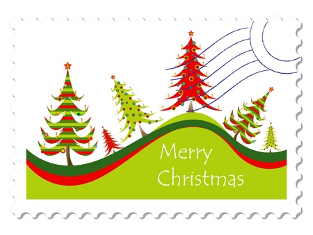 christmas card stamp stamp against white background, abstract vector art illustration; image contains gradient mesh Vector