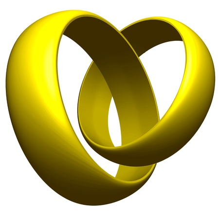connected golden rings against white background, abstract vector art illustration 向量圖像