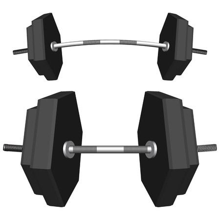 benchpress: hexagonal weights against white background, abstract vector art illustration