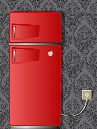 red old refrigerator against damask wallpaper, abstract vector art illustration; image contains transparency Stock Vector - 17721983