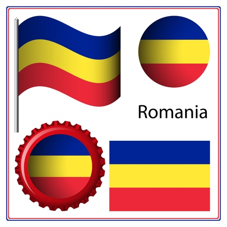 romania graphic set against white background, vector art illustration; image contains transparency