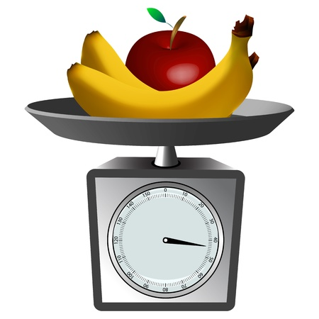 fruits and scale against white background, abstract vector art illustration; image contains gradient mesh Stock Illustratie