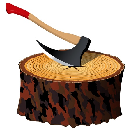 axe and wood section against white background, abstract vector art illustration; image contains transparency