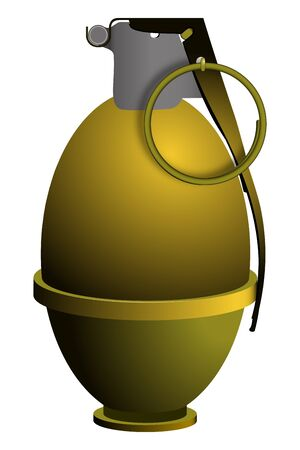 hand grenade with security pin on against white background, abstract vector art illustration; image contains transparency