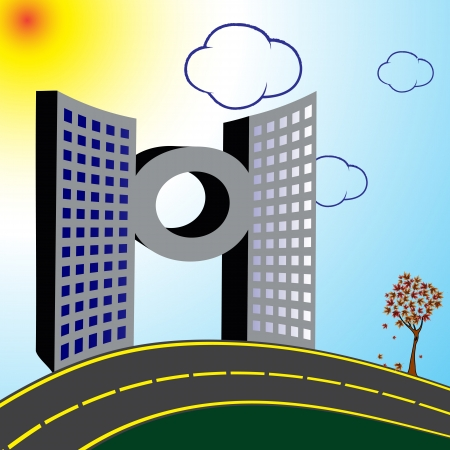 modern building and road, abstract vector art illustration Çizim