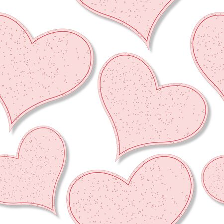 shadowed: paper hearts shadowed pattern against white background, abstract seamless texture; vector art illustration