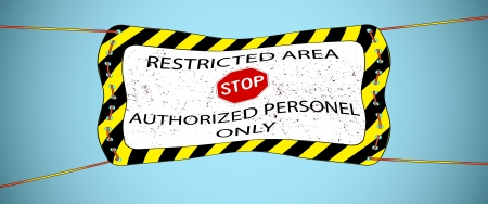 keepout: restricted area hanged banner over sky background, abstract vector art illustration