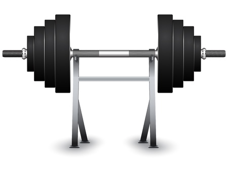 benchpress: weights on support over white background, abstract vector art illustration; image contains transparency