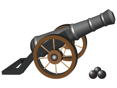 ancient cannon and iron balls against white background, abstract vector art illustration