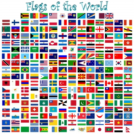 flags of the world against white background, abstract vector art illustration