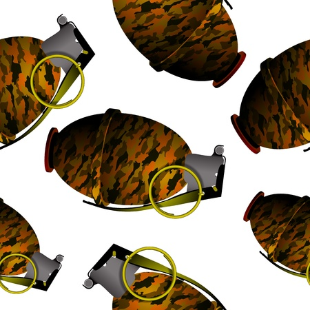 detonating: hand grenade pattern, abstract seamless texture, vector art illustration; image contains transparency Illustration