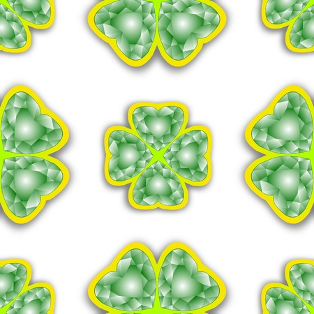 shamrock diamonds pattern, abstract seamless texture; vector art illustration Vector