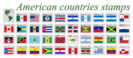 american countries stamps against white background, abstract vector art illustration Ilustração