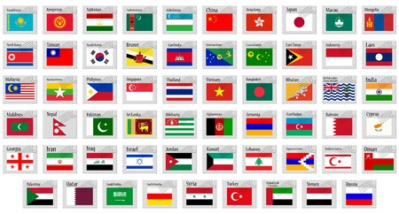 world flags: asia stamps complete collection against white background, abstract vector art illustration