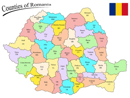 counties of romania on the map and flag of romania against white background, abstract vector art illustration Ilustracja