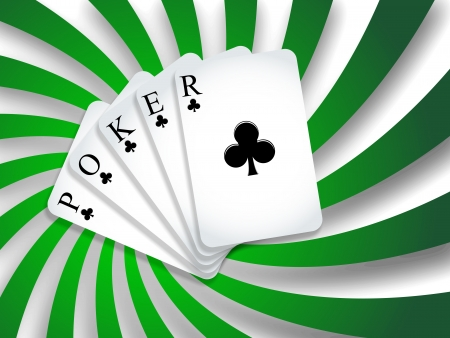 poker background with shadows and green twisted stripes, abstract vector art illustration; image contains transparency