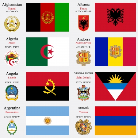 coordinates: world flags of Afghanistan, Albania, Algeria, Andorra, Angola, Antigua and Barbuda, Argentina and Armenia, with capitals, geographic coordinates and coat of arms, vector art illustration