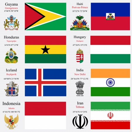 coordinates: world flags of Guyana, Haiti, Honduras, Hungary, Iceland, India, Indonesia and Iran, with capitals, geographic coordinates and coat of arms, vector art illustration