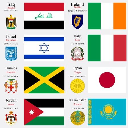 wereld vlaggen van Irak, Ierland, Israël, Italië, Jamaica, Japan, Jordanië en Kazachstan, met kapitelen, geografische coördinaten en het wapenschild, vector kunst illustratie