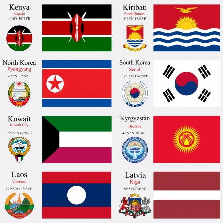 kenya: world flags of Kenya, Kiribati, North Korea, South Korea, Kuwait, Kyrgyzstan, Laos and Latvia, with capitals, geographic coordinates and coat of arms, vector art illustration Illustration