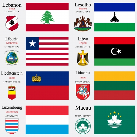 world flags of Lebanon, Lesotho, Liberia, Libya, Liechtenstein, Lithuania, Luxembourg an Macau, with capitals, geographic coordinates and coat of arms, vector art illustration