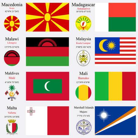 zeměpisný: světové vlajky Makedonie, na Madagaskaru, v Malawi, Malajsie, Maledivy, Mali, Malta a Marshallovy ostrovy, s hlavicemi, zeměpisných souřadnic a erb, vektorové ilustrace umění