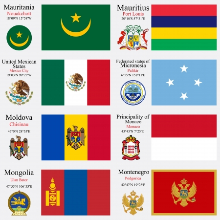 coordinates: world flags of Mauritania, Mauritius, Mexic, Micronesia, Moldova, Monaco, Mongolia and Montenegro, with capitals, geographic coordinates and coat of arms, vector art illustration