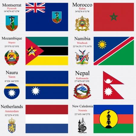 zeměpisný: světové vlajky Montserrat, Maroko, Mosambik, Namibie, Nauru, Nepálu, Nizozemí a Nové Kaledonii, s hlavicemi, zeměpisných souřadnic a erb, vektorové ilustrace umění