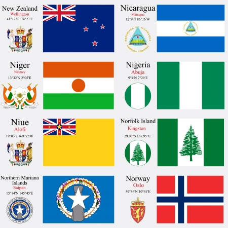coordinates: world flags of New Zealand, Nicaragua, Niger, Nigeria, Niue, Norfolk Island, Northern Mariana Islands and Norway, with capitals, geographic coordinates and coat of arms, vector art illustration