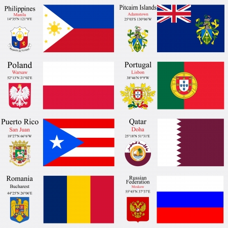 world flags of Philippines, Pitcairn Islands, Poland, Portugal, Puerto Rico, Qatar, Romania and Russian Federation, with capitals, geographic coordinates and coat of arms, vector art illustration Vector
