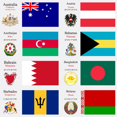 coordinates: world flags of Australia, Austria, Azerbaijan, Bahamas, Bahrain, Bangladesh, Barbados and Belarus, with capitals, geographic coordinates and coat of arms, vector art illustration