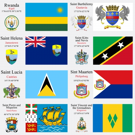 coordinates: world flags of Rwanda, Saint Barthelemy, Saint Helena, Saint Kitts and Nevis, Saint Lucia, Saint Martin, Saint Pierre and Miquelon and Saint Vincent and the Grenadines, with capitals, geographic coordinates and coat of arms, vector art illustration