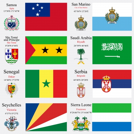 coordinates: world flags of Samoa, San Marino, Sao Tome and Principe, Saudi Arabia, Senegal, Serbia, Seychelles and Sierra Leone, with capitals, geographic coordinates and coat of arms, vector art illustration
