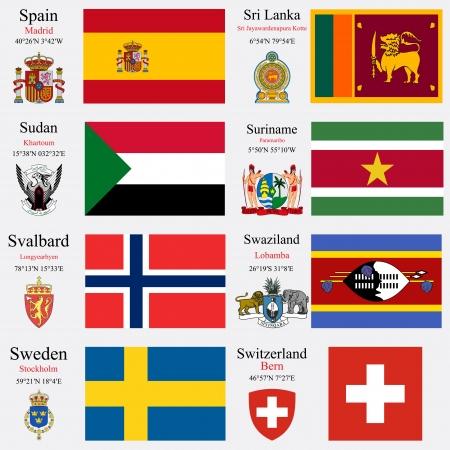 confederation: bandiere del mondo della Spagna, Sri Lanka, Sudan, Suriname, Svalbard, Swaziland, la Svezia e la Confederazione svizzera, con capitelli, coordinate geografiche e stemma, illustrazione vettoriale arte