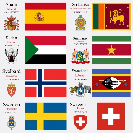 world flags of Spain, Sri Lanka, Sudan, Suriname, Svalbard, Swaziland, Sweden and Swiss Confederation, with capitals, geographic coordinates and coat of arms, vector art illustration Ilustração