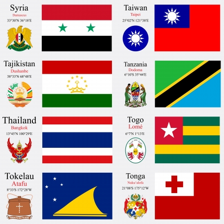 coordinates: world flags of Syria, Taiwan, Tajikistan, Tanzania, Thailand, Togo, Tokelau and Tonga, with capitals, geographic coordinates and coat of arms, vector art illustration