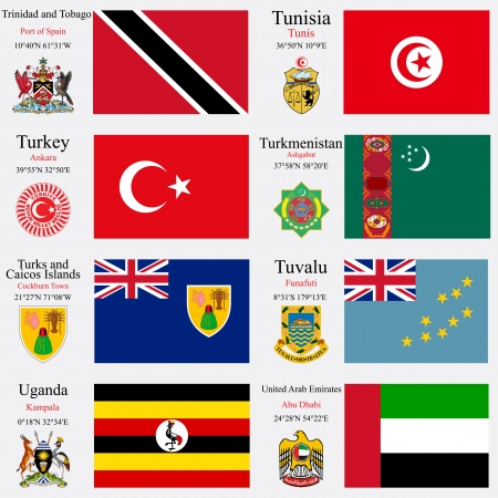 world flags of Trinidad and Tobago, Tunisia, Turkey, Turkmenistan, Turks and Caicos Islands, Tuvalu, Uganda and United Arab Emirates, with capitals, geographic coordinates and coat of arms, vector art illustration Vector