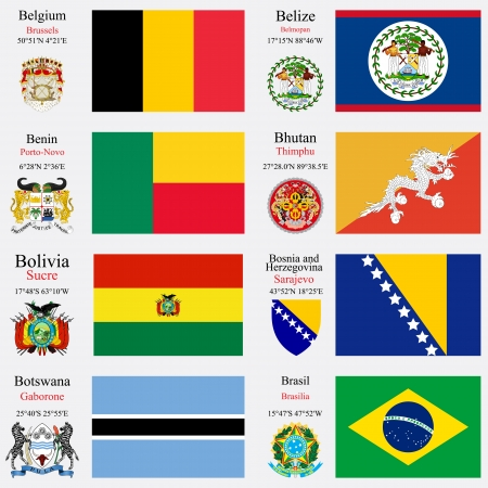 coordinates: world flags of Belgium, Belize, Benin, Bhutan, Bolivia, Bosnia and Herzegovina, Botswana and  Brasil, with capitals, geographic coordinates and coat of arms, vector art illustration