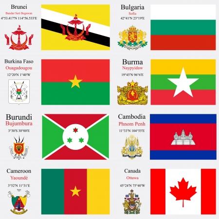 zeměpisný: světové vlajky Brunej, Bulharsko, Burkina Faso, Barma nebo Myanmar, Burundi, Kambodža, Kamerun a Kanadě, s hlavicemi, zeměpisných souřadnic a erb, vektorové ilustrace umění Ilustrace