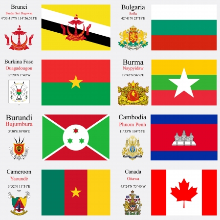 world flags of Brunei, Bulgaria, Burkina Faso, Burma or Myanmar, Burundi, Cambodia, Cameroon and Canada, with capitals, geographic coordinates and coat of arms, vector art illustration