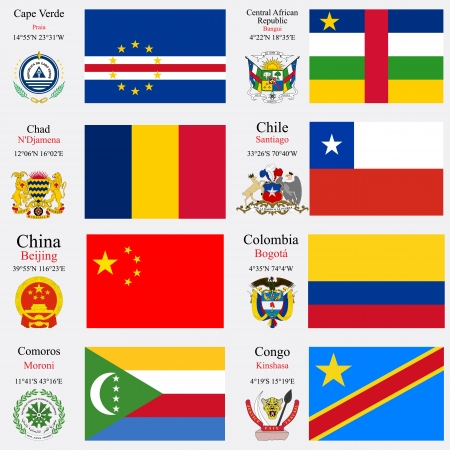 coordinates: world flags of Cape Verde, Central African Republic, Chad, Chile, China, Colombia, Comoros and Democratic Republic of the Congo, with capitals, geographic coordinates and coat of arms, vector art illustration