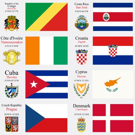 world flags of Republic of the Congo, Costa Rica, Cote d