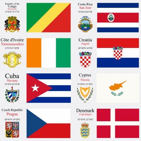 coordinates: world flags of Republic of the Congo, Costa Rica, Cote d
